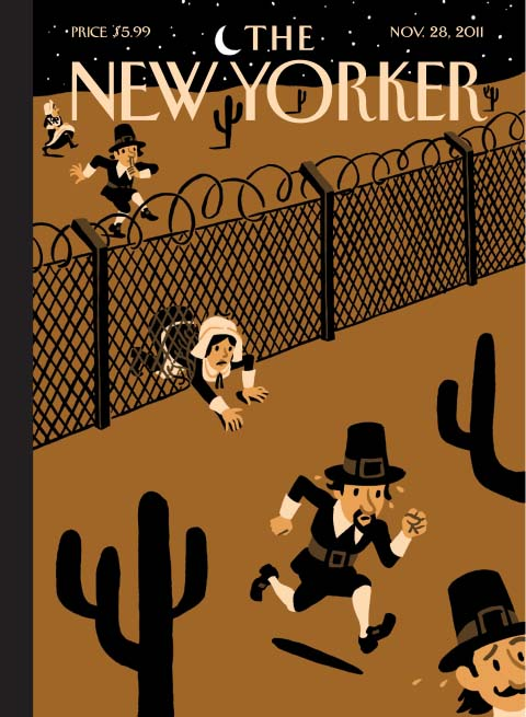 New Yorker cover pilgrims fence